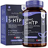 5-HTP 400mg - 240 Tabletas Veganas - Suministro de 8 Meses - 5htp con Extracto Puro de Semilla de Griffonia - Hecho en el Reino Unido por Nutravita