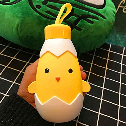 CS-BWP 300 ml de capacidad, taza de cristal de dibujos animados para niños, diseño de pollitos y animales, botella de agua portátil para deportes al aire libre, taza térmica para coche, color amarillo, tamaño talla única