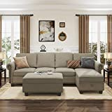 Nolany Convertible Sectional Sofa Couch with Reversible Chaise, L Shaped Sofa Couch Set with Storage Ottoman for Living Room, Dark Khaki(Sofa+Hydraulic Rod Storage Ottoman