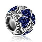 KunBead - Ciondolo a forma di quadrifoglio portafortuna per braccialetti e collane e Rame, colore: Trifoglio blu., cod. UKKUNC-105