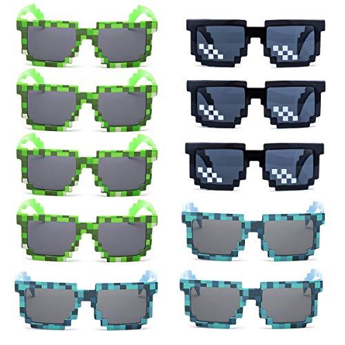 kilofly 10pc 8-Bit Pixel UV Protect Gamer Sunglasses Adult Kids Party Favors (green & blue & black)