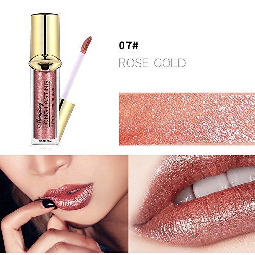 SUGEER 12 Farben Matte Glitzer Lippenstift Metallic Pearl Lipgloss Wasserdicht Dauerhaft