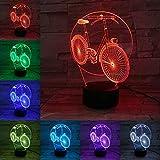 3D Fahrrad Nachtlicht,7 Farben Berührungssteuerung Zuhause Dekor Tischleuchte,Optische Illusion LED Nachtlampe USB Tischlampe, für Kinder Weihnachten Geburtstag beste Geschenk Spielzeug