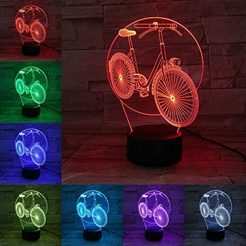 Bicicletta Bike Lampada 3D Luce notturna Lampadina LED Multicolore Dissolvenza Casa vacanze Deocr Interior design AA Touch Base remota