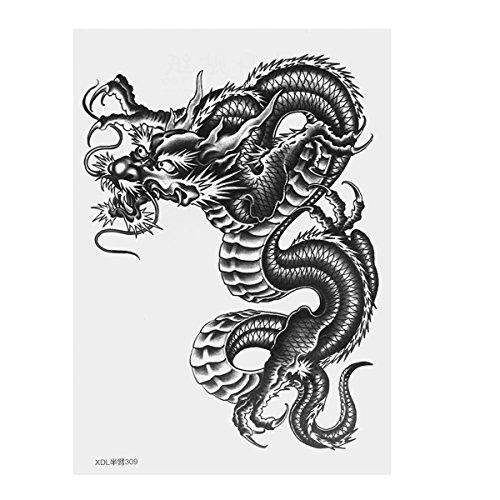 Supvox Große Drachen Temporäre Tätowierung Arm Tattoo Aufkleber für Männer Frauen (Schwarz)