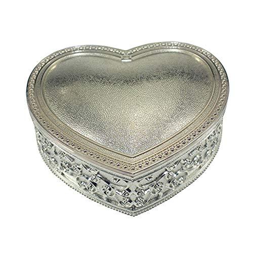 ReedG Caja de Joyería Ring Box Europea Joyas Caja de aleación de Zinc eléctrico del corazón de joyería de Plata en Forma de Caja para Mujeres (Color : Silver, Size : 10.2x9.7x3.7 cm)