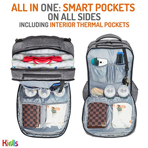 Travel Waterproof Laptop Backpack Diaper Bag – for Smart Mom and Dad – Stylish Design, Insulated Pockets, Multi-Functional Storage + FREE Portable Changing Pad – Perfect Baby Shower Gift by KidIs