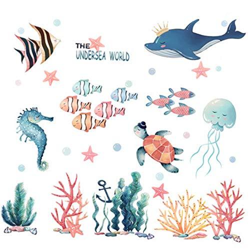 DIY Cartoon Magische Onderzeeër Wereld Kids Muursticker Baby Kamer Badjas Kwekerij Mooie Vis Thuis Decor Poster