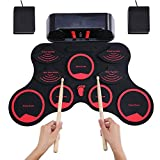 N/P Hand Roll Electronic Drum,Portable Set Digital Roll-up MIDI Drum Kit 9 Silicon Durm Pads Built-in Stereo Speakers Rechargeable Lithium Battery with 2 Foot Pedals for Kids Children Beginners