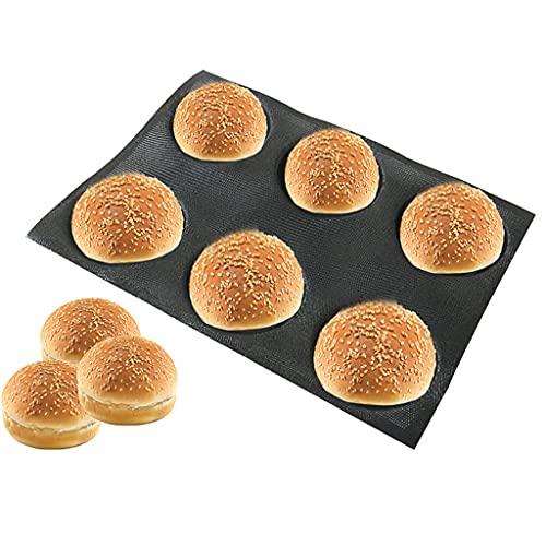 ShiftX4 Silikonowe foremki do hamburgerów formy nieprzywierające bułek chleb formy do pieczenia perforowane piekarnia blachy do pieczenia chleba 6 pustych