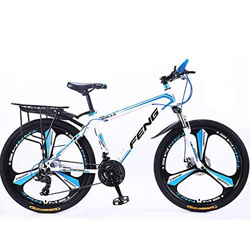 21-Geschwindigkeit Mountainfahrräder,26 Zoll Erwachsene Hoch-Carbon Stahlrahmen Hardtail Fahrrad,Mann All Terrain Mountainbike,Anti-Slip Fahrräder-Weiß Und Blau 26inch