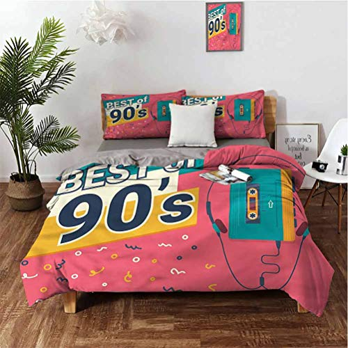 """SUZM 90s Stylish and Exquisite Home Decoration Design 3-Piece Set Best of 90s Cassette Player Soft Anti-Wrinkle and Anti-Fading King(104""""×90"""") Pillowcases 3620"""""""