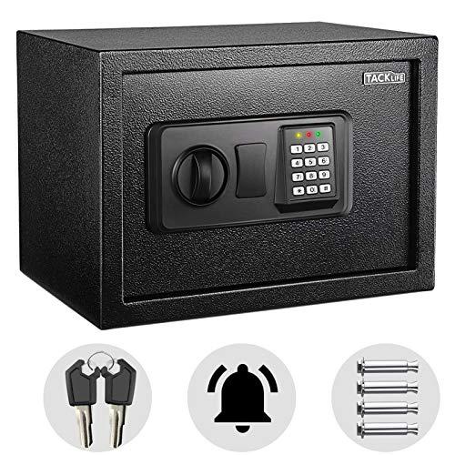 Tresor, TACKLIFE Elektronischer Safe mit Zahlenschloss und 2×Notschlüssel, an der Wand montierbar, Doppelbolzen Verriegelung, kann wertvolle Objekte aufbewahren, 35×25×25 cm, 14L-HES25A