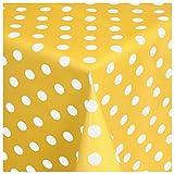 MODERNO Wachstischdecke Wachstuch Tischdecke Gartentischdecke abwaschbar eckig 100x140 cm Punkte Gelb Weiss