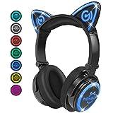 Mindkoo Casque Audio Stéréo Bluetooth 4.2 Oreilles de Chat Headphone Wireless Origine Cat Ear Ecouteur Supra-Auriculaire sans Fil avec Microphone Intégré kit Main Libre Compatible - Noir&Bleu