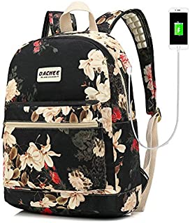 DACHEE Laptop Backpack with USB Charging Port Waterproof School Bookbag Travel Backpack for 15.6 Inch (Black Peony)