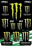 KIT Autocollants COMPATIBILE pour Monster Sponsor Moto Honda Yamaha KTM Cross Casque Enduro (43)