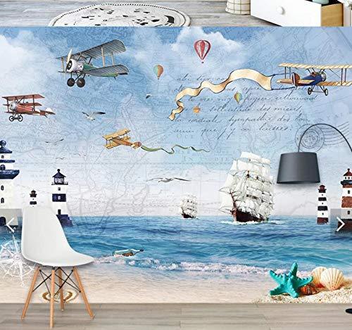 Wandbilder Moderne WanddekoKarton flugzeug wandbild fototapete für wohnzimmer tapeten rollen kontakt papier segelboot meer 3d wandbilder benutzerdefinierte