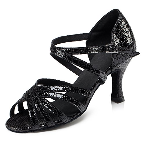URVIP Nowości damskie buty ze sztucznej skóry poliuretanowej, buty do tańca LD0100, czarny - czarny - 40 EU