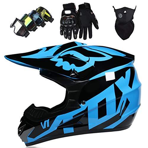 Casco Motocross Niño 5~12 Años ECE Homologado Casco Moto Integral Unisex para Moto Cross Descenso Enduro MTB Quad BMX Bicicleta (Gafas+Máscara+Guantes) con Diseño FOX - MJH-01 - Brillante Negro Azul