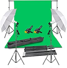 Emart Photography Backdrop Continuous Umbrella Studio Lighting Kit, Muslin Chromakey Green Screen and Background Stand Support System for Photo Video Shoot