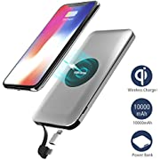 Power Bank Portable Charger External Battery Pack 10000mAh with Qi Wireless Charging with Built in Micro Cable and Lightning Adapter for iPhoneX/8/8Plus,Samsung Galaxy S9/S8,iPad and other Qi-enabled Devices