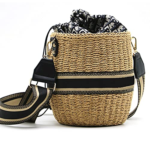 DZHTWSRYGR Bolso de Mano de Playa Bolso de Paja Tejido Bolsos de Cuerda de Papel Hechos a Mano Bolso de Playa Cuadrado Redondo Popular para Vacaciones