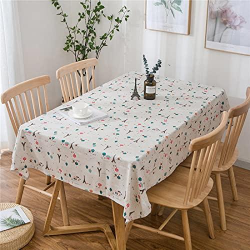NOBCE Mantel de Cocina Mesa de Centro Pastoral Simple rectángulo de algodón y Lino M 120x160cm