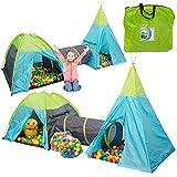 LittleTom Set 2 Tentes de Jeu avec Tunnel 320x100x135cm INCL 200 Boules colorées