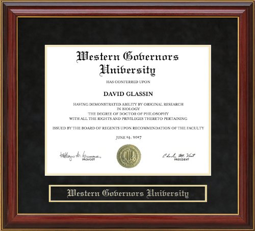 Wordyisms Western Governors University (WGU) Mahogany Diploma Frame