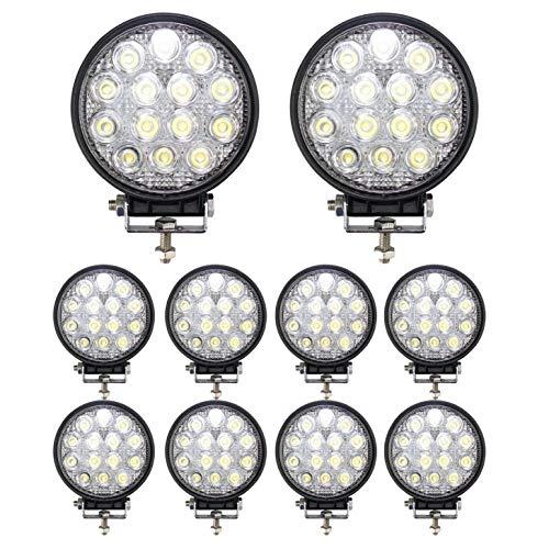 BRIGHTUM 42W 4.5inch LED Offroad Arbeitsscheinwerfer weiß 12V 24V 3990 Lumen Runde Reflektor worklight Scheinwerfer Arbeitslicht SUV UTV ATV Arbeitslampe Traktor Bagger LKW KFZ (10 Stück)