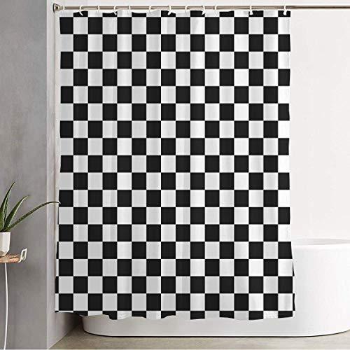 N\A Duschvorhang Fliesen Schachbrettmuster Schachprüfer Hipster-Stil Chaotische Texturen Textilgitter Design Mosaik Badezimmerdekorationen Wasserdichter Polyesterstoff mit Haken