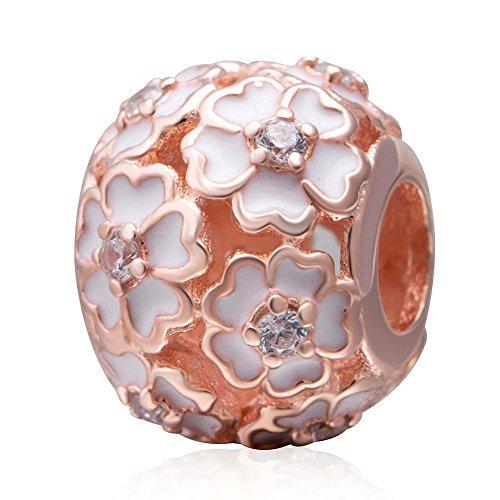 Rose Charm 925 Sterling Silver Flower Charm Love Charm Anniversary Charm Valentine Charm Birthday Charm for Pandora Charms Bracelet (Rose Gold)