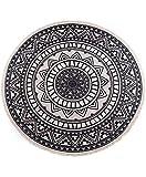 StyleMeister - Runder Baumwollteppich 120 cm mit Fransen - rutschfest, handgewebt und pflegeleicht - bedrucktes böhmisches Mandala Muster - Teppich rund