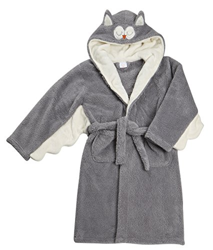 4Kidz Childrens Girls Novelty Owl Night Robe (Ages 7-13) Hooded Snuggle Fleece Bathrobe