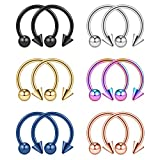Ruifan 12PCS Assorted Colors Surgical Steel CBR Nose Septum Horseshoe Nipple Earring Eyebrow Tongue Lip Piercing Ring with 5mm Balls & Spikes 14G 14mm
