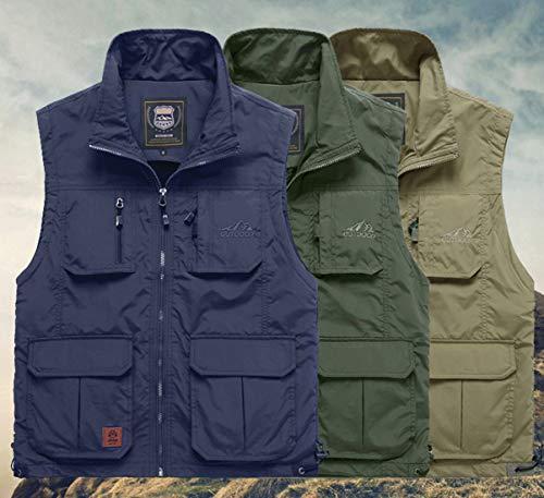YDSH Men's Vest Outdoor Vest Safari Practical Zipper Multi-Pocket Mesh Breathable Camping Hunting Fishing Photography Hiking Vest Grey