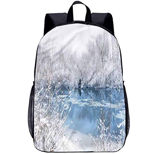 "Winter 17"" School Backpack,Frozen Lake and Snowy Trees Students Backpack for Kids Adults"