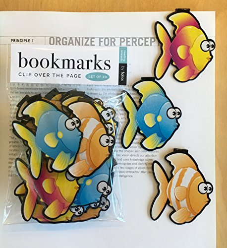Fish Bookmarks - (Set of 20 Book Markers) Bulk Animal Bookmarks for Students, Kids, Teens, Girls & Boys. Ideal for Reading incentives, Birthday Favors, Reading Awards and Classroom Prizes!