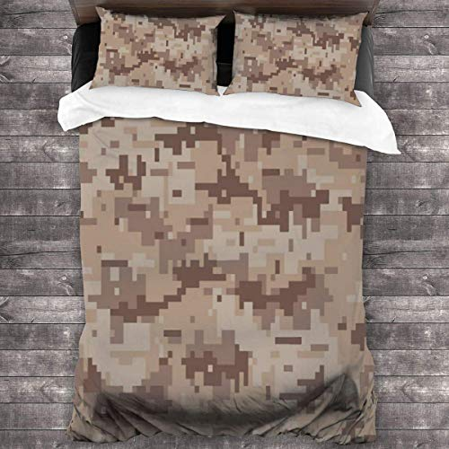 KDRW Bedding Set Desert Army Color Pattern 3 Piece Duvet Cover Set Wrinkle Resistant Bed Quilts with Zipper Closure Comfy Bed Sheets Set with 2 Pillowcase 86'' X70