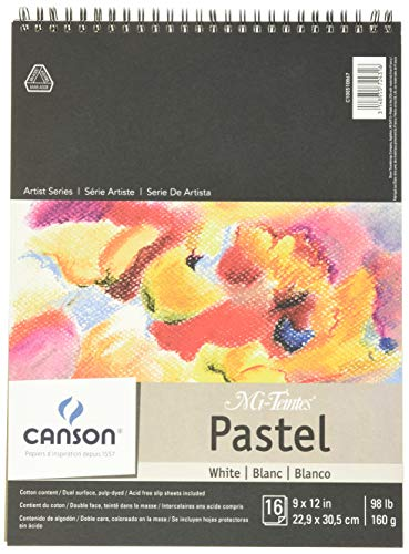 Canson Mi-Teintes Pastel Paper Pad, Glassine, Dual Sided Light and Heavy Texture, Top Wire Bound, 98 Pound, 9 x 12 Inch, White, 16 Sheets, 9'X12'