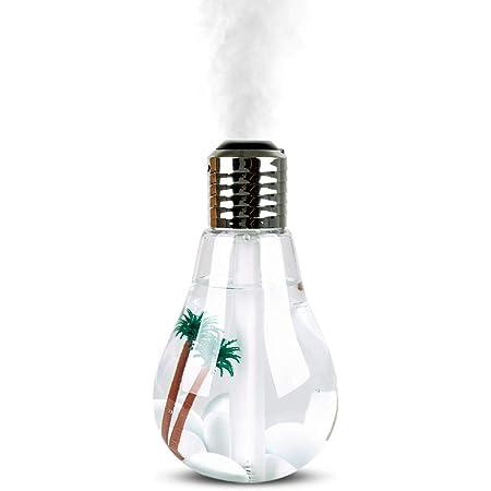 Redlemon Humidificador y Difusor de Aceites Esenciales para Aromaterapia en Forma de Foco con Decoración de Palmeras, Luz LED 7 Colores, Mecanismo Silencioso. Ideal para Habitación o Yoga. 400ml
