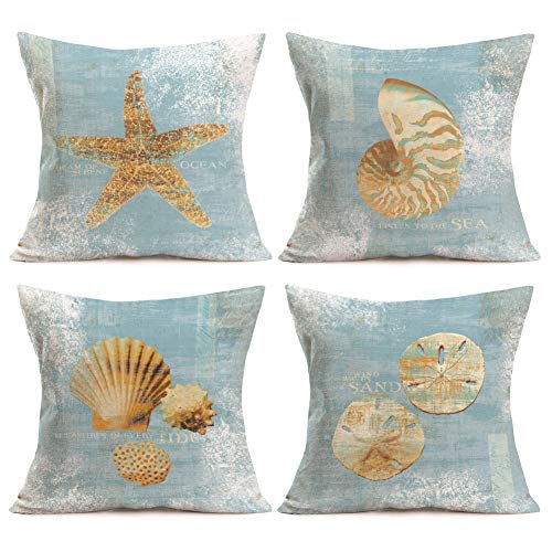 Asamour 4 Pack Ocean Park Theme Home Decorative Pillowcase Sea Starfish Conch Cotton Linen Throw Pillow Case Cushion Cover Pillow Sham for Sofa Couch 18''x18'',Baby Blue