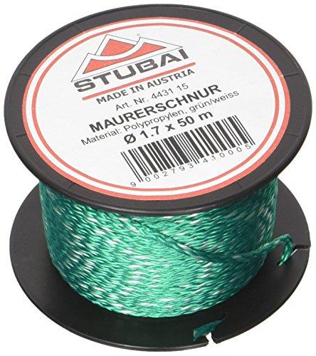Stubai 443115 - Cordel de albañil en carrete (diámetro de 1,7 mm, 50 m) color verde