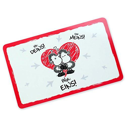 Sheepworld 45187 Motiv Wir Eins, Resopal, Schneidebrett, Geschenkbrettchen mit Liebesmotiv, Rot, Weiß, Schwarz, 14.3 x 23.3 x 0.2 cm