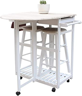 Amazon Com Mtfy Kitchen Island Table Small Kitchen Table With Rolling Casters Dining Table Set With Folding Drop Leaf 2 Drawers Small Kitchen Table Set For 2 Square Stools Semicircle Natural