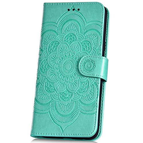 JAWSEU Compatible avec Samsung Galaxy A2e Coque Portefeuille PU Étui Cuir à Rabat Magnétique Luxe Mode Soleil Mandala Fleur Motif Ultra Mince Stand Leather PU Flip Wallet Case,vert