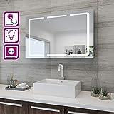 Elegant LED-Spiegelschrank 3-türig 105 x 65 x 13 cm Badezimmer-Spiegel Wandschrank Bad-Schrank mit...