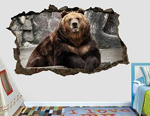 Pegatinas de pared Animal oso salvaje calcomanía de pared personalizado aplastado 3d calcomanía calcomanía arte vinilo