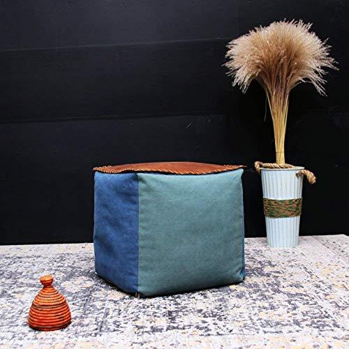 XBCDX Ottoman Pouf Footstool,Canvas Washable Footrest stool Futon cushion Cube Foam filling Sofa stool Bean bag-B 16x16x16in
